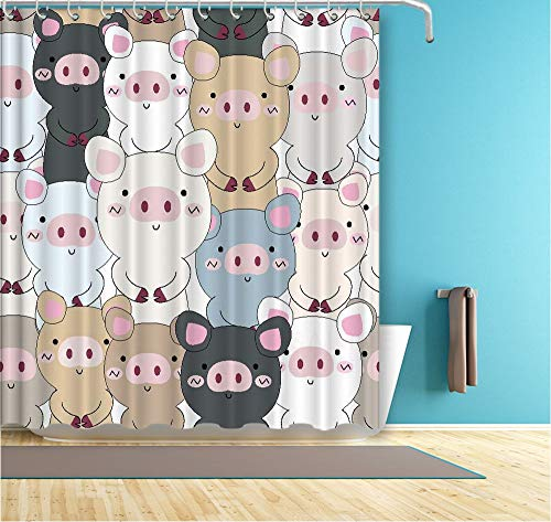 New Cartoon Kinder Badezimmer Vorhang Bunte Baby Schweine Wasserdicht Duschvorhang Polyester Stoff Bad Vorhang 180 × 180 cm