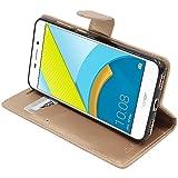 ebestStar - kompatibel mit Huawei Honor 6C Pro Hülle Kunstleder Wallet Hülle Handyhülle [PU Leder], Kartenfächern, Standfunktion, Gold [Phone: 147.9 x 73.2 x 7.7mm, 5.2'']