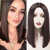 Peluca mujer corta bob pelucas pelo natural sinteticas realistas pelucas media melena marron 14 inch