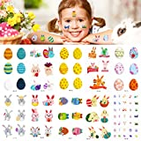 Qpout Tatuajes temporales de Pascua para niños, 10 hojas de tatuajes, diseño de dibujos animados de huevos de gallina, cesta de conejito, para niños niñas, regalos de decoración de fiesta de Pascua