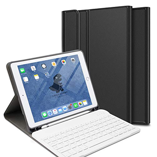 Black 10.8 for iPad Case - Keyboard Case for iPad 2020 Sept 8th Generation Case 10.8 2020 - Detachable Wireless Keyboard with Pencil Holder Stand Folio Cover - Magnetic Auto Sleep/Wake