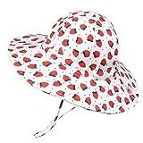 Foruhoo Mädchen Sonnenhüte UPF 50, Verstellbarer Baumwoll Breite Krempe Sommermütze für Baby (52, Erdbeere)