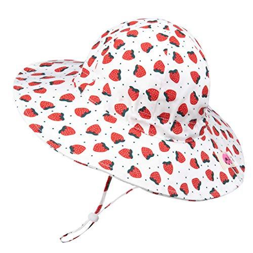 Foruhoo Sombrero de sol para niña, protección UV, ala ancha ajustable, gorro de verano para bebé Fresa 1 mes