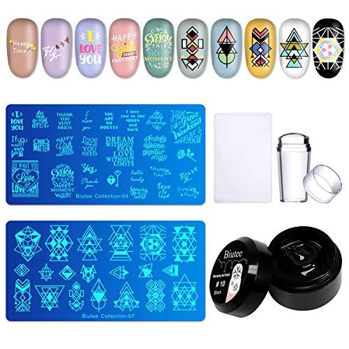 Biutee Nail Stamping Plates kit 2PCS Nail Art Template Image Plates +...