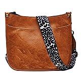 HAIBOLAN Shoulder Bag for Women Leopard Adjustable Guitar Strap Crossbody Purse Vegan Leather Bucket Handbags (Light Brown)