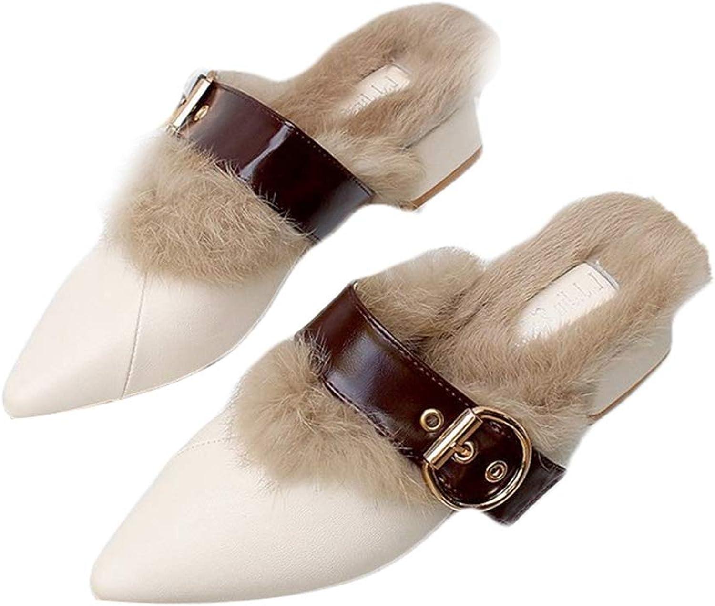 August Jim Women's Winter Flats shoes,No-Slip Home Slippers Plush Winter Flat Warm shoes