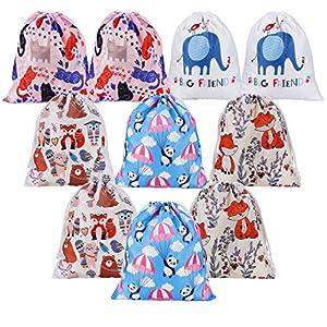 510ONdFWFAL. SS300  - Bolsas de Cuerdas Emoji Dibujos Animados Mochila Bolsas PE para cumpleaños niños y Adultos la Fiesta Favorece Rellenos Bolsa 10 Piezas