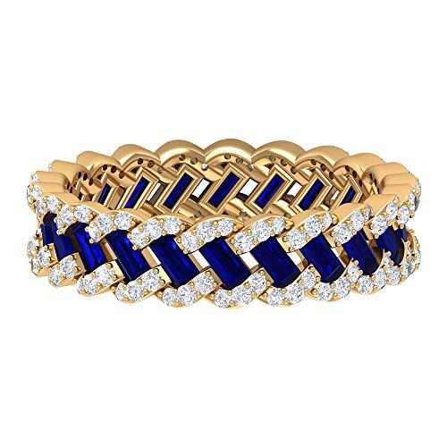 Anillo de boda vintage, único anillo trenzado, HI-SI 0,6 quilates anillos de diamante, 1,5 quilates azul zafiro creado en laboratorio, anillo de eternidad completo, 18K Oro amarillo, Size:EU 70