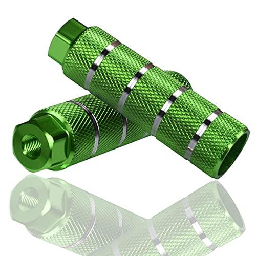 2 Piezas Pegs de Bicicleta,Pedales Traseros para BMX,Aleación de Aluminio Antideslizante Estacas Universales para Bicicleta encajan en Los Ejes de 3/8 Pulgadas (Verde)
