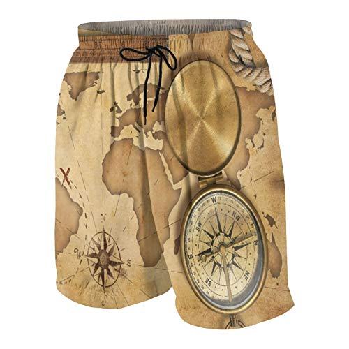 SUHOM De Los Hombres Casual Pantalones Cortos,Mapa del Tesoro Vintage Envejecido con Cuerda Regla brújula Antigua Aventura Descubrimiento,Traje de Baño Playa Ropa de Deporte con Forro de Malla
