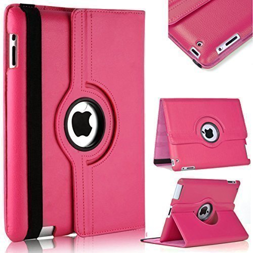 TechDealsUK PU Leather 360 Degree Rotating Stand Swivel Case Folio Cover For Apple iPad 4 3 2 (Pink)