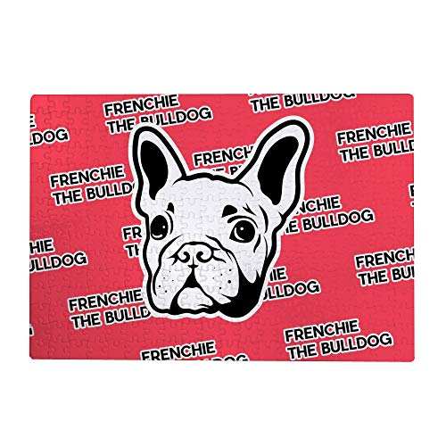 Kuizee Puzzle 500 Piece Jigsaw Puzzle Cool Frenchie The Bulldog Red Kids Adult Educational Intellectual Decompressing Fun Game 20.5X15Inch