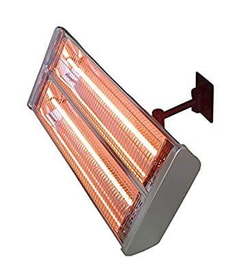 Hiland HLI-1531 Wall Mount Electric Patio Heater, 1500 Watts, Remote Control Included, IP Certified Water Proof, Variable Heat Output, Gray