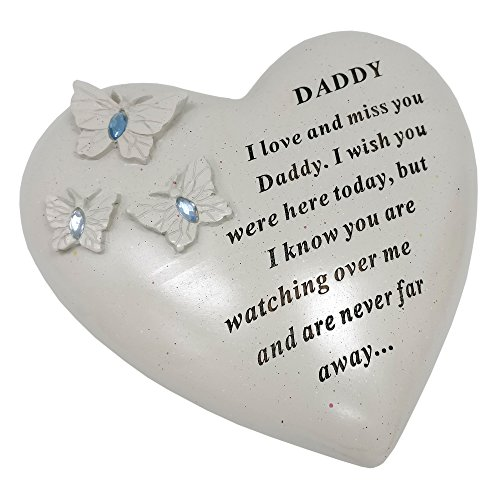 David Fischhoff Daddy Memorial Butterfly Heart with Gems, Stone, Cream, 16 x 7 x 14.5 cm