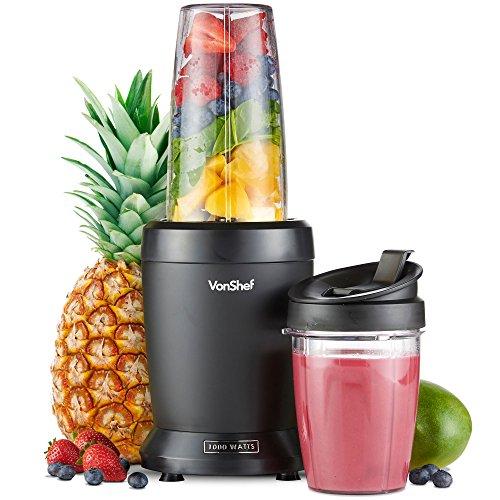VonShef UltraBlend Licuadora Batidora de Vaso 1000W- Incluye Vaso Grande de 800ml, Vaso de 500ml y 2x Tapas - para preparar Bebidas Deportivas, Batidos de Proteínas, Jugos de Fruta y más