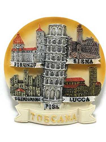 Tuscany Toscana Pisa Lucca Firenze Siena Torre de Pisa Italia resina 3d imán para nevera Souvenir Tourist regalo FBA