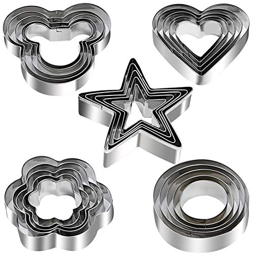 Cookie Cutters Shapes Set, 25pcs Flower,Round,Heart,Star,Mouse Shape Stainless Steel Metal Cookie Molds for Kitchen, Baking