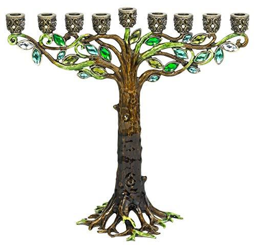 Judaica Jewish Olivia Riegel Hanukkah Chanukah Tree of Life Menorah with Swarovski Crystals
