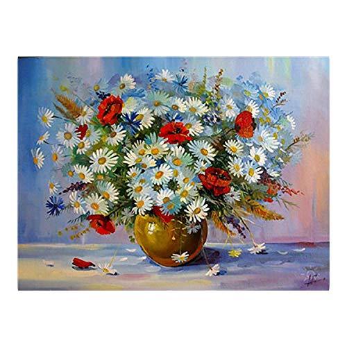 Small Lake Färbung Farbe nach Zahlen für Erwachsene Ölgemälde nach Nummer Nummerierte Gemälde Zahlen Kunst Bild Blume in Vase Sonnenblumenfarbe nach Nummer 23-50x65cm Kein Rahmen