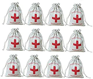 AmaJOY 50pcs Wedding Party Favor Bags 4X 6 inch (10x15cm) Red Cross Bachelorette Hangover Kit Bags Recovery Kit Bags Survival Kit Bags Cotton Muslin Drawstring Bag