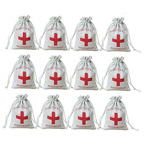 """AmaJOY """"Hangover Kit"""" Gastgeschenktaschen für Hochzeiten, mit rotem Kreuz, mit Kordelzug, aus Musselin-Baumwolle, 10x 15cm, 20 Stück"""