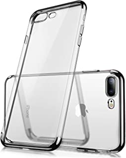 iPhone 6 6S Clear View TPU Case with Screen Protector,Aearl Slim Fit Silicone Soft Transparent Cover Plating Electroplating Edge Shockproof Protective Frame Bumper for Apple iPhone 6S 6-Black