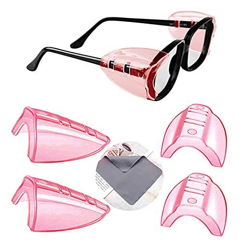YUERR 2ペア 花粉症めがね 防塵 花粉カット メガネ 子供 花粉対策 メタルフレーム保護メガネ用サイドシールド かふんしょうのメガネ 曇らない 小から中のメガネフレームに適合1 PC眼鏡布付き(メガネは含まれていません)(4 個入り-M-淡紅色)