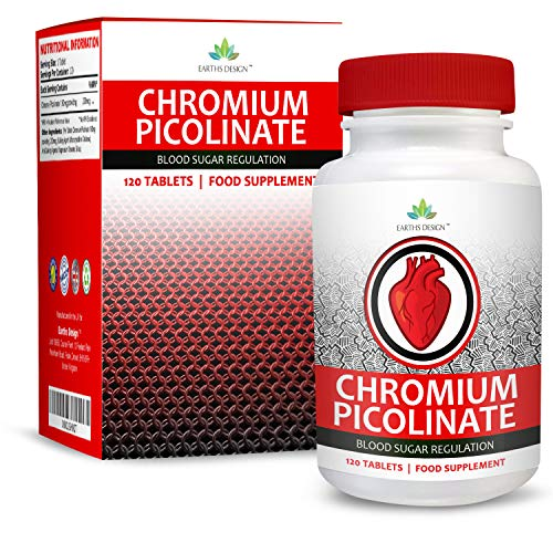 Earths Design Chroom, 200 μg (chroomicolinaat), hooggedoseerde chromium-picolinaat, voor mannen en vrouwen, geschikt voor vegetariërs, 120 tabletten (4 maanden voorraad)