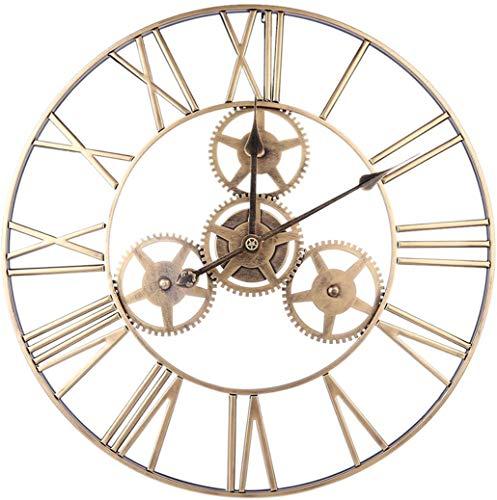 MZDJDM Relojes de Pared con números Romanos Antiguos, Reloj de Pared silencioso de Hierro Forjado silencioso Dorado para Sala de Estar, Cocina, Dormitorio, Oficina, 60 cm