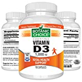 Botanic Choice Vitamin D3 - 1000 IU Immune Support Capsules - Sunshine Vitamin Promotes Healthy Muscle Function, Bone Growth, Strong Immune Function and Overall Wellness 90 Pcs