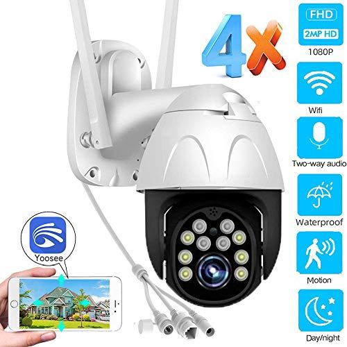 AINSS 1080P WiFi-Außenkamera IP-PTZ-Kamera CCTV-Kamera Zweiwege-Audio, Nachtsicht, wasserdicht, Mobile Verfolgung usw, geeignet für Garagen, Geschäfte, Innenhöfe usw. (WiFi-Kamera+64GB)