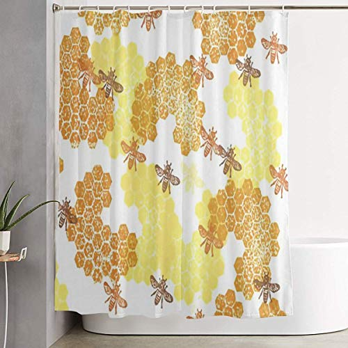 ANTOUZHE Duschvorhang Duschvorhänge Bees and Honey Shower Curtain 3D Printed Non-Fading Bathing Curtain Long Lasting Waterproof Home Decor Shower Curtain Set Bathroom Hotel Decoration