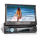 XOMAX XM-D750 Autoradio mit 18 cm / 7' Touchscreen I DVD, CD, USB, AUX I RDS I Bluetooth I Anschlüsse für Front- und Rückfahrkamera, Lenkradfernbedienung und Subwoofer I 1 DIN