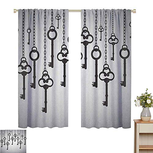 Wear Pole Curtains Blackout Curtain Silhouettes of Old Keys Hanging Chain Links Unlocking Security Home Opener Pale Grey Black Energy Saving Set of 2 Panels W55 x L45