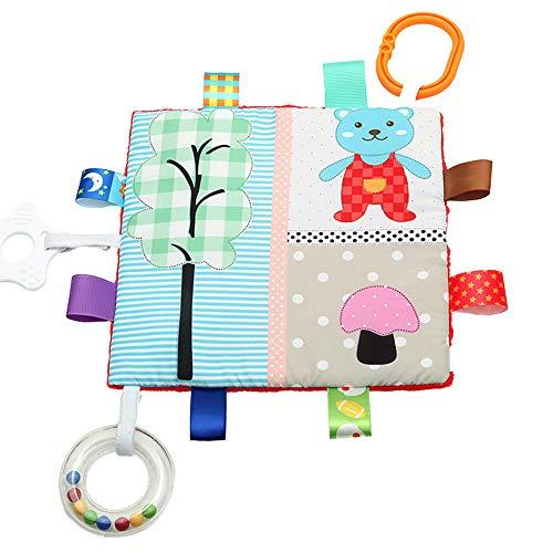Taggies apaisante sensorielle Crinkle Me Jouet avec bébé papier et Siffleur, Ours et champignons, 7,5 x 7,5 pouces