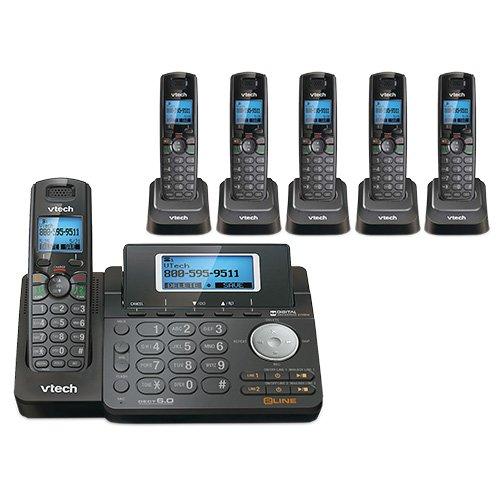 VTech DS6151-11 DECT 6.0 2-Line Expandable Cordless Phone + (5) DS6101-11 Accessory Handset, Black