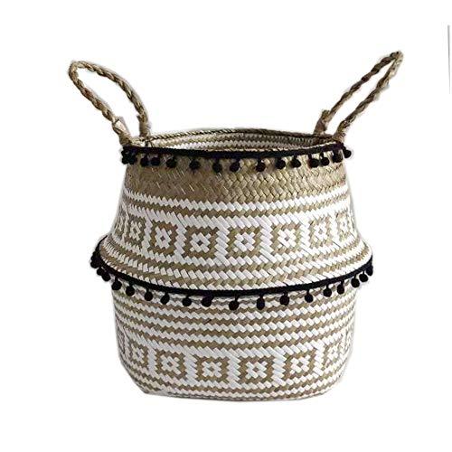 Szetosy - Cesta de junco para almacenamiento de Goodchance UK, con pompones. Cesta plegable tejida y con asa para ropa, juguetes, plantas o para usar en el cuarto del bebé, Estilo#8, 22 x 20 cm