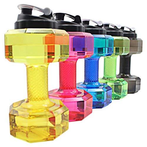 Eghunooye Wasser Flasche 2.2L Hantel Trinkflasche Umweltfreundliche Hantelform Trinkflasche für Sport,Fitness,Training,Gym, Laufen Bottle Wasser (Pink)