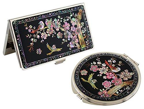 Mère de perle rose Abricot Fleur Design Business crédit Nom Porte Carte d'identité gravé Miroir compact en acier inoxydable Slim Argent cas