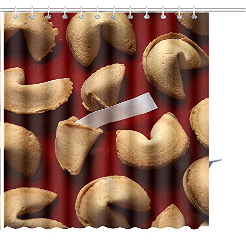 MuaToo Shower Curtain Fortune Cookies on red Background with White Blank Paper Graphic Print Polyester Fabric Bathroom Decor Sets with Hooks 72 x 72 Inches