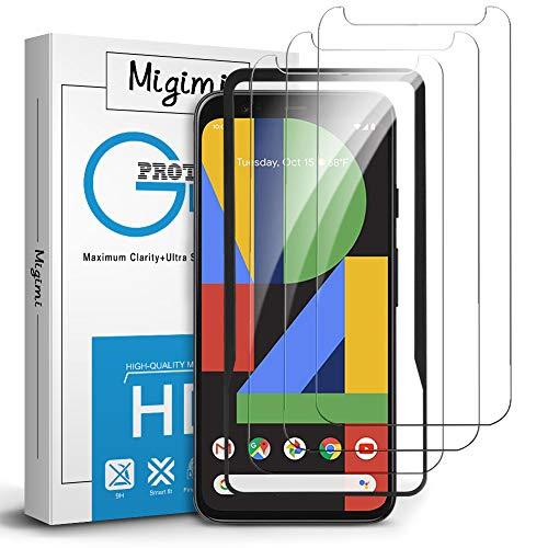 Migimi Schutzfolie für Google Pixel 4 Panzerglas, [3 Stück] Panzerglasfolie 9H Festigkeit [mit Positionierhilfe], Bubble Free HD Klar Glas Bildschirmschutz für Pixel 4 [5,7
