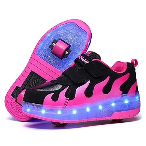 Zapatillas de patinaje de ruedas de niñas LED de zapatillas de deporte USB LED iluminar zapatos de patinaje Dos ruedas zapatos para niños Regalo para principiantes ( Color : Black Pink , Size : 40EU )