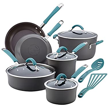 Rachael Ray Cucina 87641 12-Piece Cookware Set, Gray, Agave Blue Handles