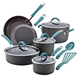 Rachael Ray Cucina Hard Anodized Nonstick Cookware Pots and Pans Set, 12 Piece, Gray with Blue...