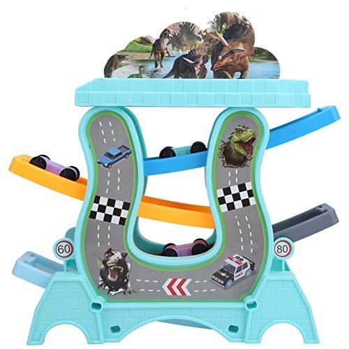 Juguete de pista de coche, compacto, resistente, duradero, interesante, juguete de pista de coche de bricolaje, para regalos en interiores o exteriores (azul, pista de 4 capas)