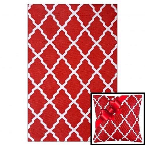 Ambientair r150240rja Außen Teppich 150 x 240. Rot, Rot, Einheitsgröße + Bei der Bestellung Wird EIN passendes Kissen gegeben.