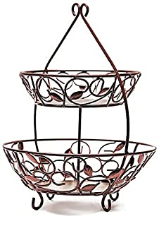 """Circleware 00726 Leaf Design Bronze Metal 2-Tier Round Fruit Storage Wire Display Basket Bowl for Food, Vegetables, Best Selling Home & Kitchen Table Counter Cabinet Gift, 17""""x21"""", Cyber Monday Deal (B01LWJCZB1) 