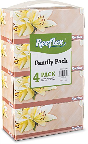Reeflex Facial Tissues 230 Per Box 8quot X 7quot Size Soft Smooth 2 Ply Great For Home Office Store School Bathroom Or In Your Car Family Pack 4 Facial Tissue Boxes
