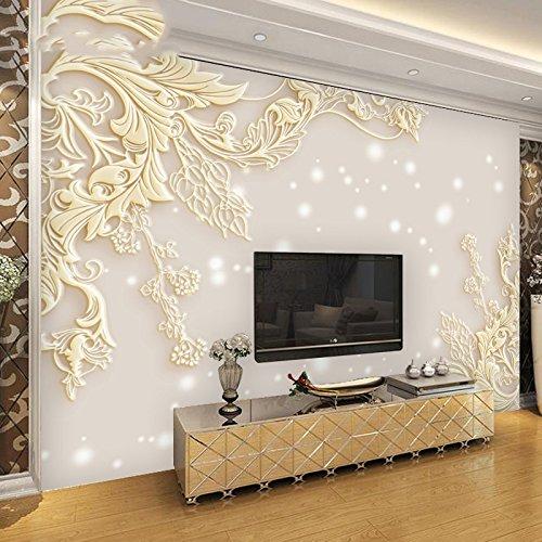 LZK 5D dreidimensionales Relief im europäischen Stil Wohnzimmer TV Hintergrund Wand Papier einfaches Schlafzimmer Nahtlose 3D Wallpaper Wand Wandverkleidung,Hell Gold,1