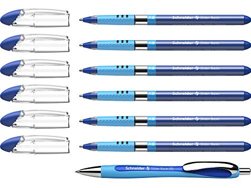 Schneider Slider Basic XB und Slider Rave XB Kugelschreiber (mit Etui, Schreibfarbe blau) 6+1 Stück
